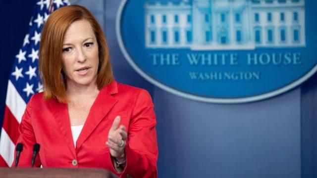White House Press Secretary Jen Psaki holding a press conference
