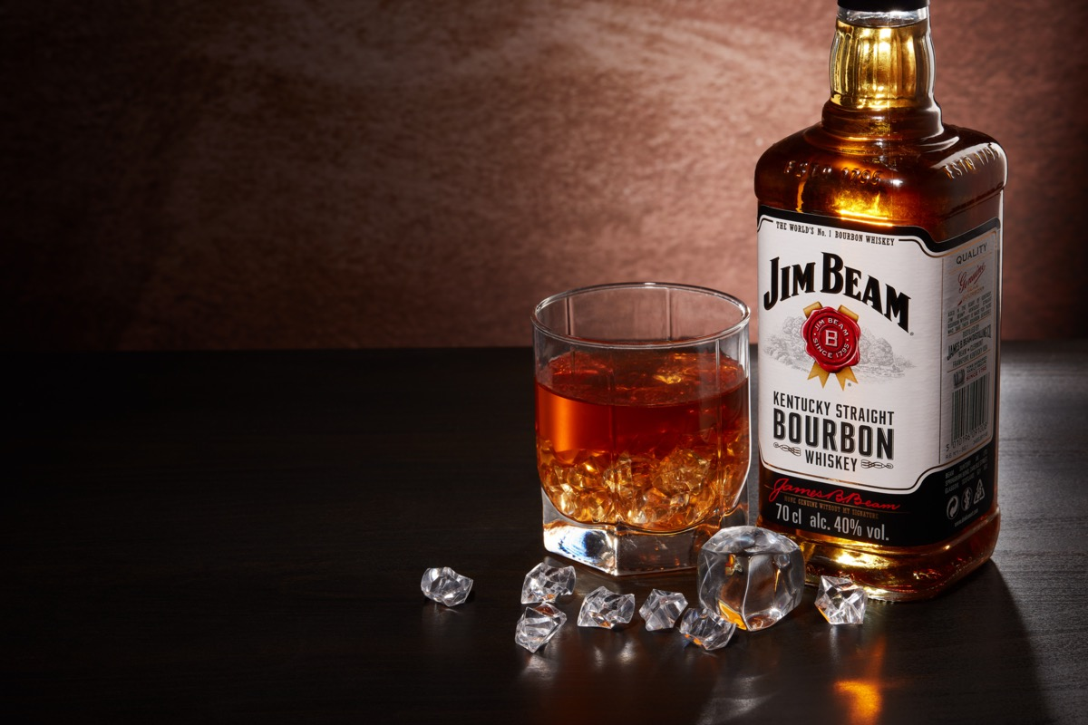 Jim Beam and a glass and ice