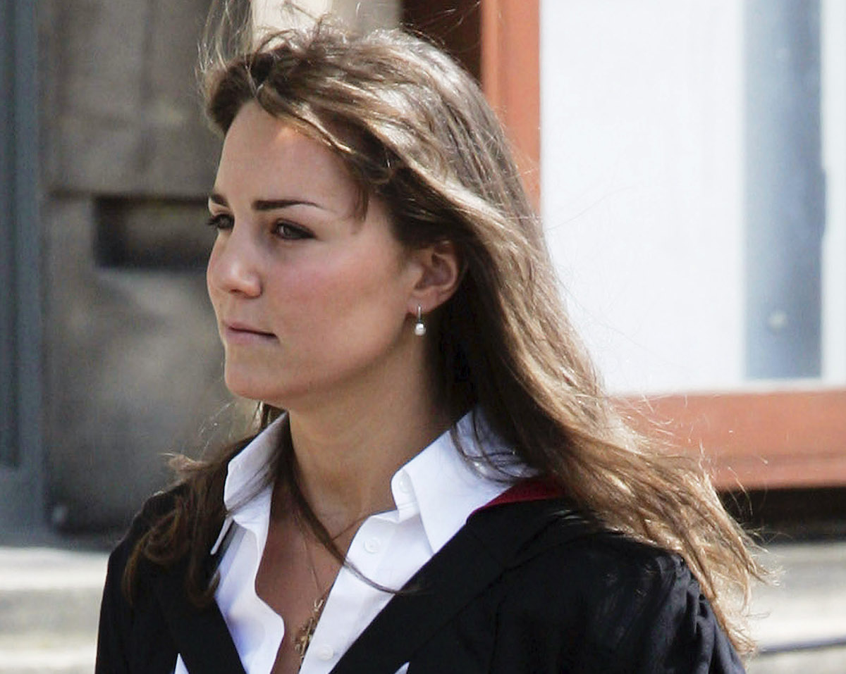 New graduate Kate Middleton wears a traditional gown to the graduation ceremony at St Andrew's University to collect her degree in St Andrew's on June 23, 2005, England.