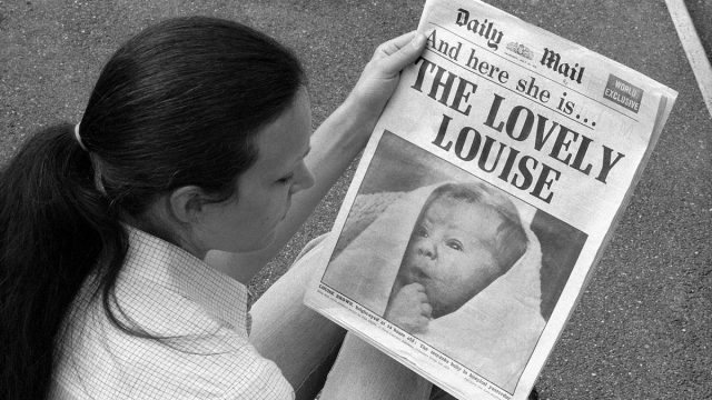 """Daily Mail"""" front page with birth of first IVF baby Louise Brown in 1978"""