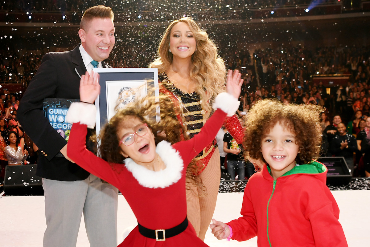 Mariah Carey is awarded a Guinness World Record with her daughter Monroe Cannon and son Moroccan Scott Cannon in attendance at The Colosseum at Caesars Palace