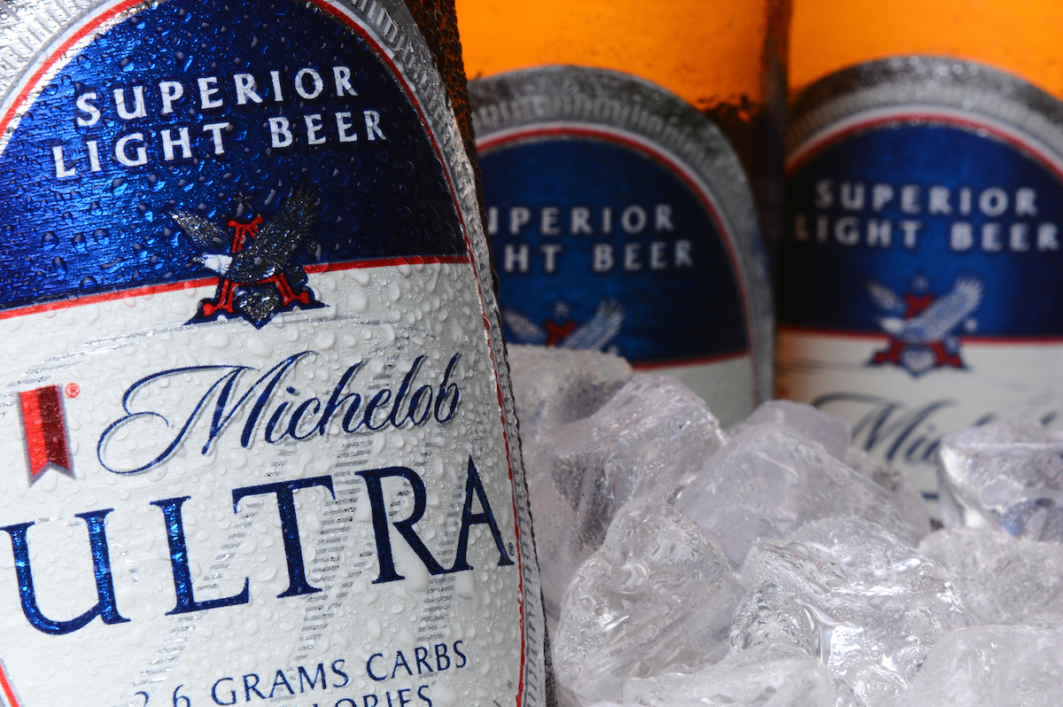 Closeup of Michelob Ultra bottles in ice. Introduced in 2002 Michelob Ultra is a light beer with reduced calories and carbohydrates, from Anheuser-Busch.