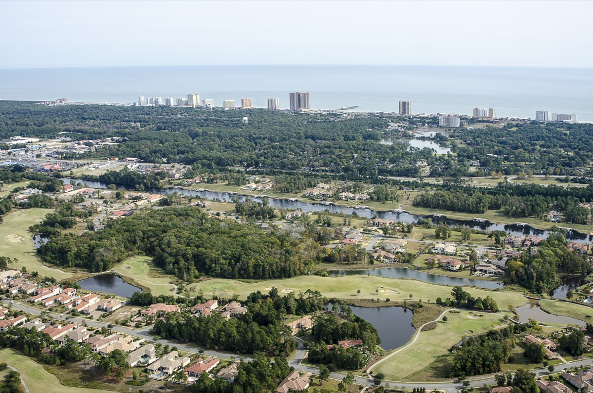 Myrtle Beach, South Carolina, USA - November 04, 2014: Aerial View of the Grande Dunes community in Myrtle Beach, South Carolina. Grand Dunes is a planned community which includes luxurious homes and