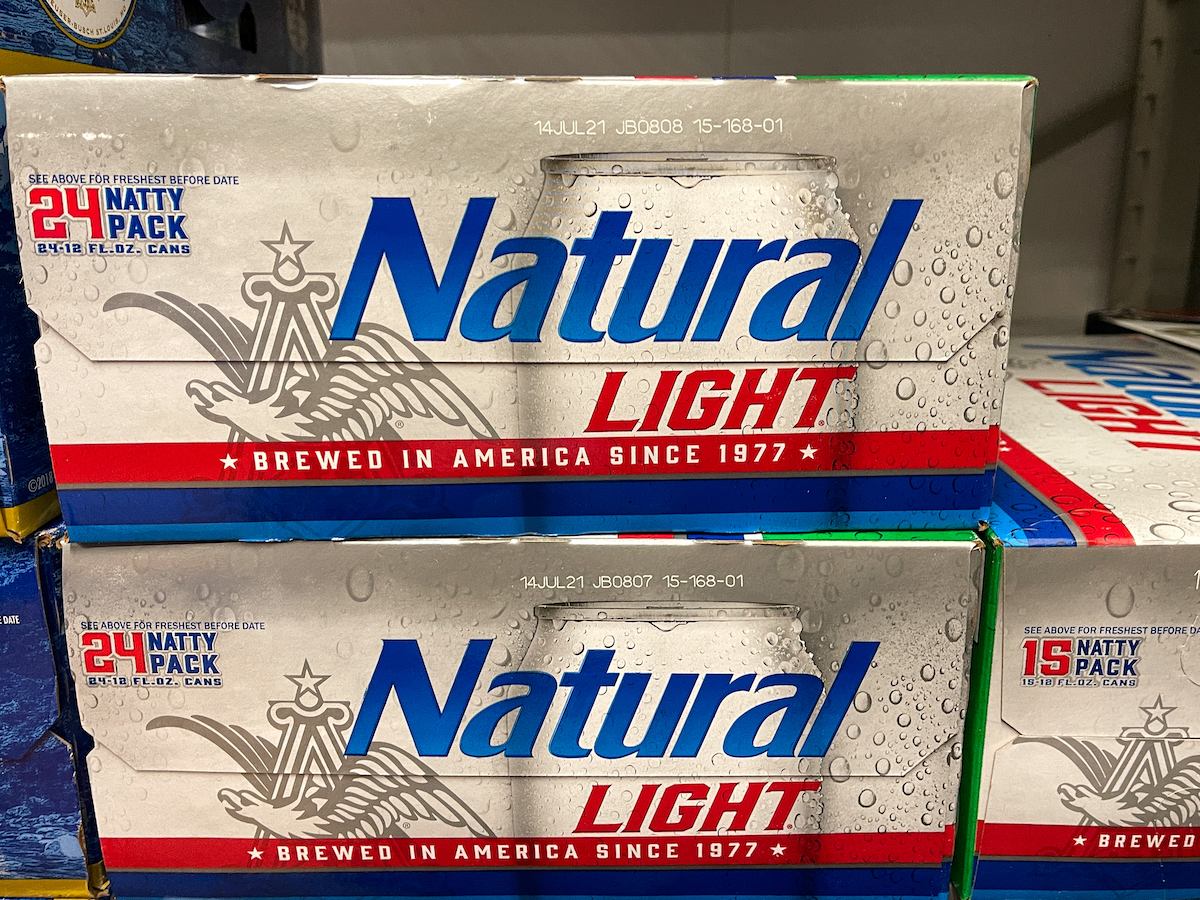 A case of Natural Light Beer also called Natty Light in a grocery store.