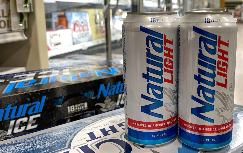 Cans of Natural Light Beer also called Natty Light in a Publix grocery store.
