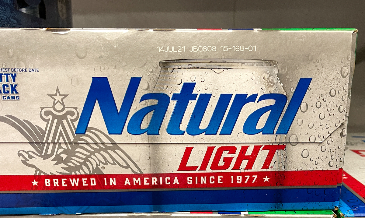 Natural Light Beer also called Natty Light in a grocery store.