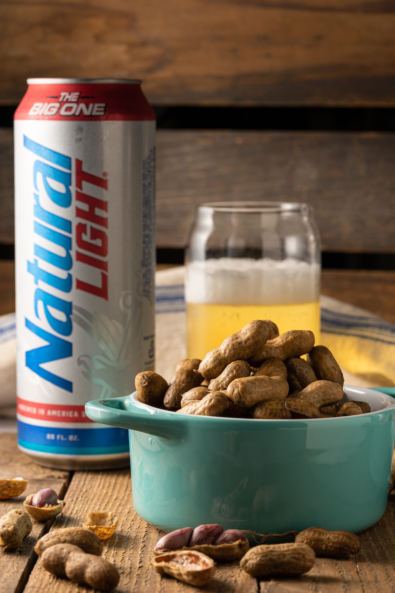 Boiled peanuts with Natural Light beer.