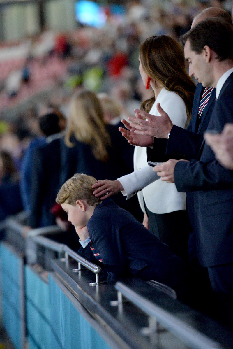 Prince George of Cambridge, Catherine, Duchess of Cambridge, and Prince William, Duke of Cambridge and President of the Football Association (FA) are seen in the stands prior to the UEFA Euro 2020 Championship Final between Italy and England at Wembley Stadium on July 11, 2021 in London, England