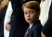 Prince George of Cambridge seen in the stands prior to the UEFA Euro 2020 Championship Final between Italy and England at Wembley Stadium on July 11, 2021 in London, England.