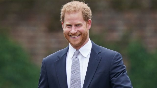 Prince Harry, Duke of Sussex arrives for the unveiling of a statue he and Prince William commissioned of their mother Diana, Princess of Wales