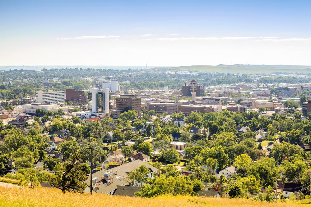 The skyline of Rapid City, South Dakota