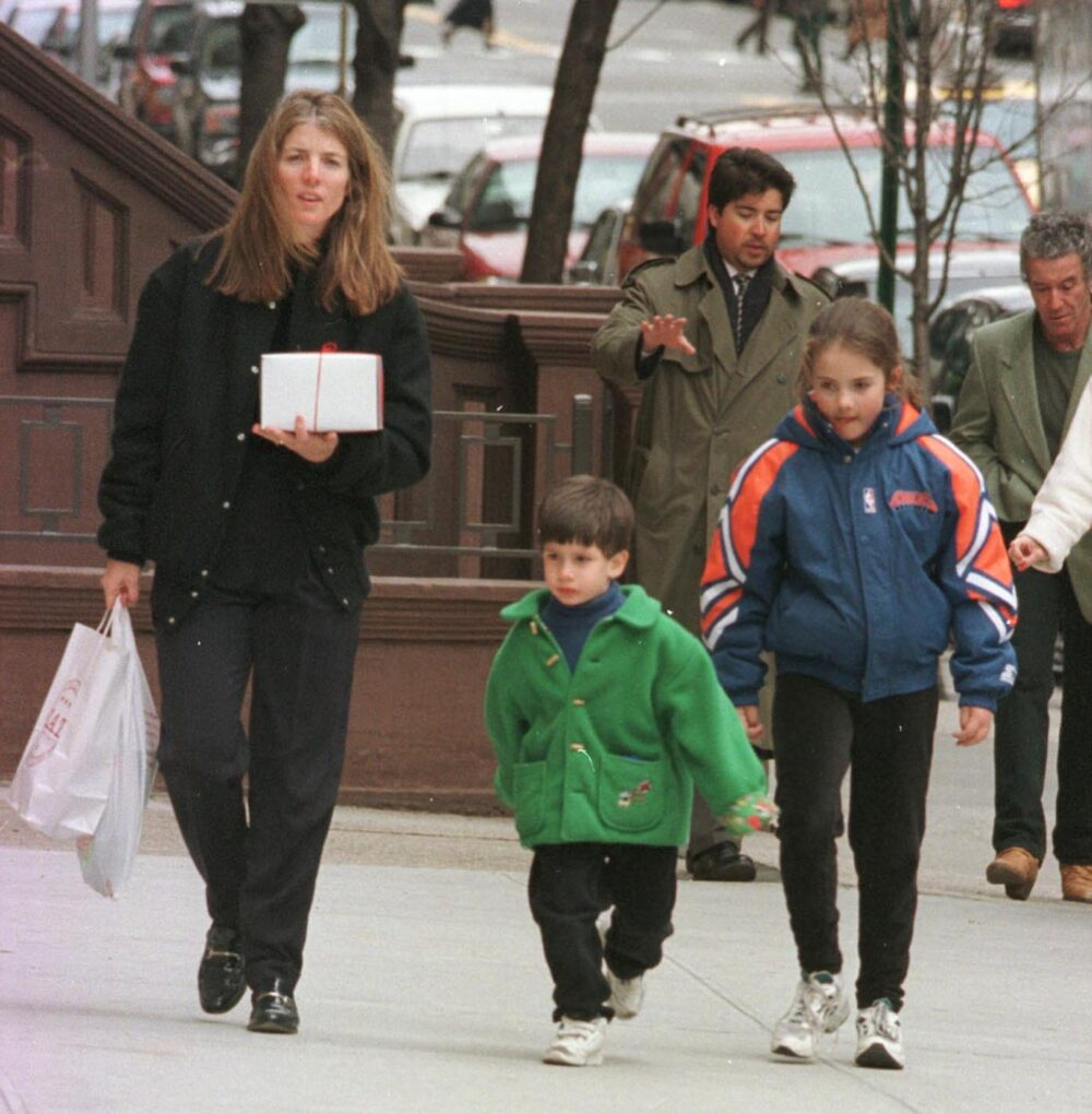 Caroline Kennedy and daughter Rose and son John returning home after picking up lunch at a nearby restaurant