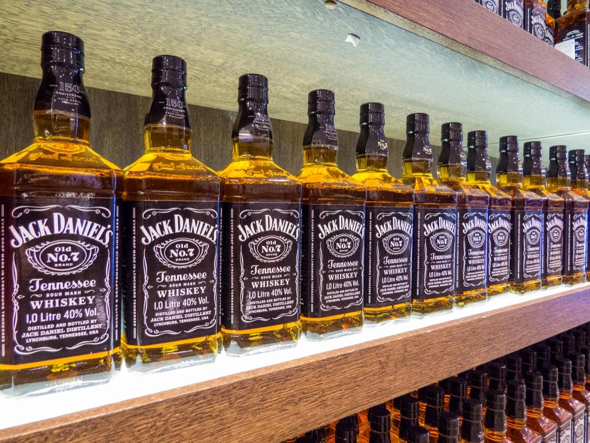 row of jack daniel's bottles