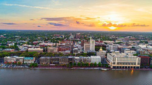 Savannah, Georgia, USA Downtown Skyline Aerial