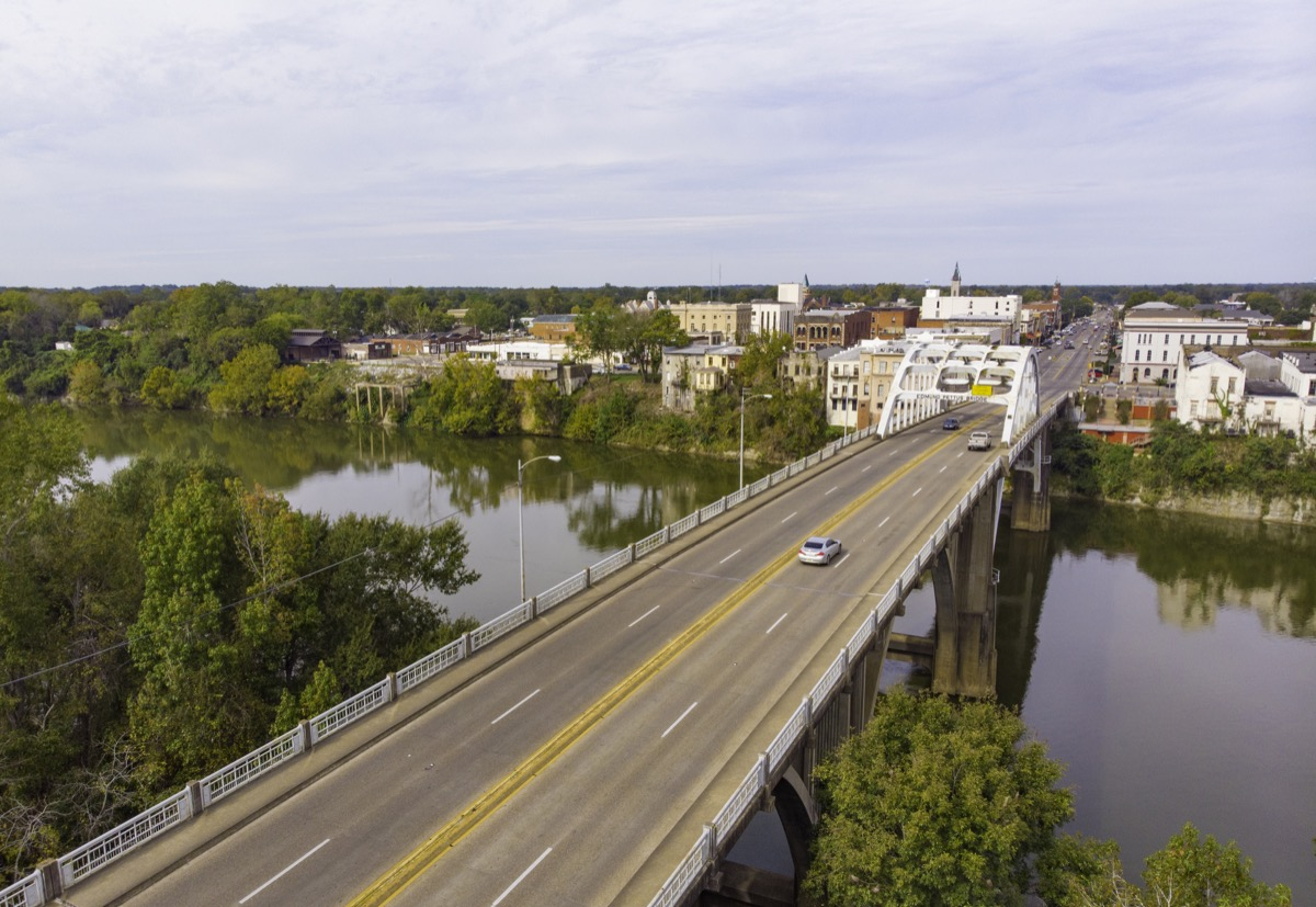 A drone view of the Edmund Pettus Bridge, in Selma, Alabama, which was the scene of violent clashes between civil rights marchers and local officials in 1965.