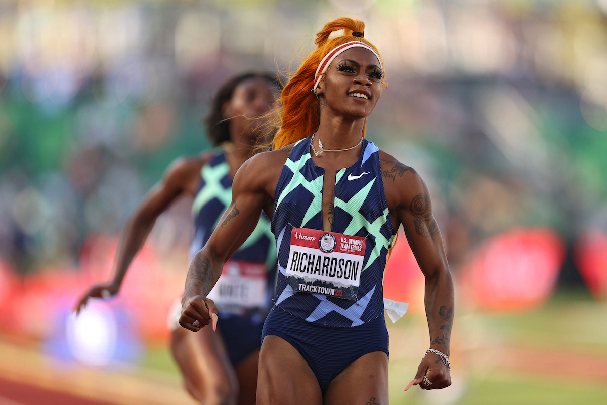 Sha'Carri Richardson runs in the Women's 100 Meter semifinal on day 2 of the 2020 U.S. Olympic Track & Field Team Trials at Hayward Field on June 19, 2021 in Eugene, Oregon.