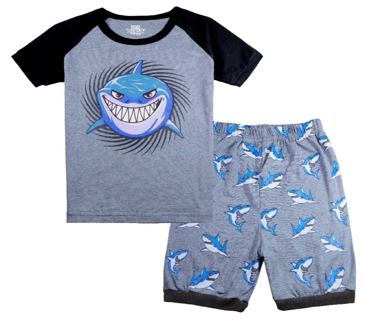 two piece set of gray shark pajamas with a t-shirt top and shorts bottom