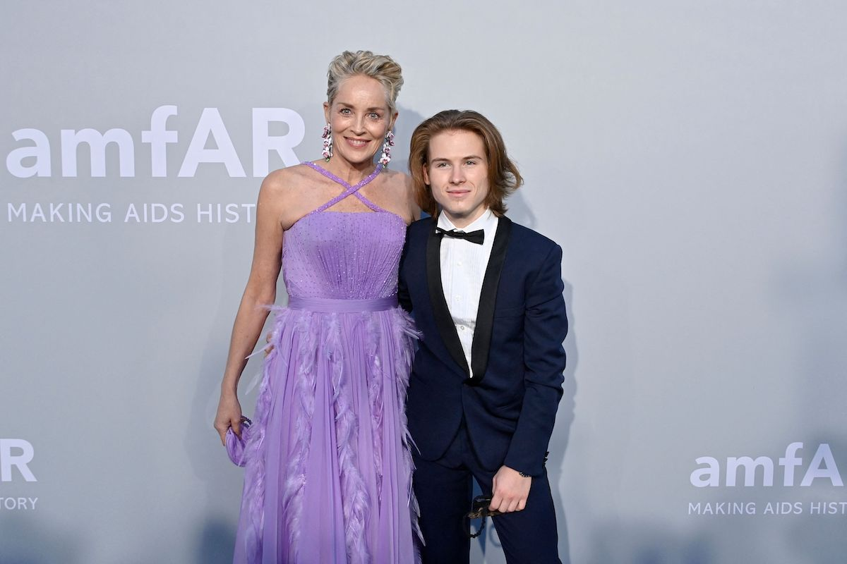 Sharon Stone (L) and her son Roan arrive on July 16, 2021 to attend the amfAR 27th Annual Cinema Against AIDS gala at the Villa Eilenroc in Cap d'Antibes, southern France, on the sidelines of the 74th Cannes Film Festival.
