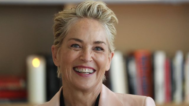 Sharon Stone smiles after she was awarded with the Commandeur de l'Ordre des Arts et Lettres (Commander of the Order of Arts and Letters) on the sidelines of the 74th edition of the Cannes Film Festival in Cannes, southern France, on July 16, 2021.