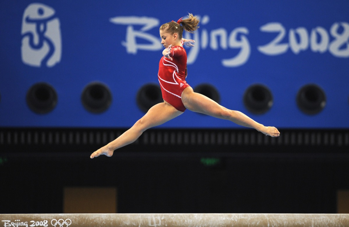 United States' Shawn Johnson competes on the beam during the women's team final of the artistic gymnastics event of the Beijing 2008 Olympic Games in Beijing on August 13, 2008. China won the gold, while United States won the silver and Romania the bronze.