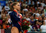 United States' Shawn Johnson competes in the artistic gymnastics event at the National Indoor Stadium on Day 11 of the Beijing 2008 Olympic Games on August 19, 2008 in Beijing, China.