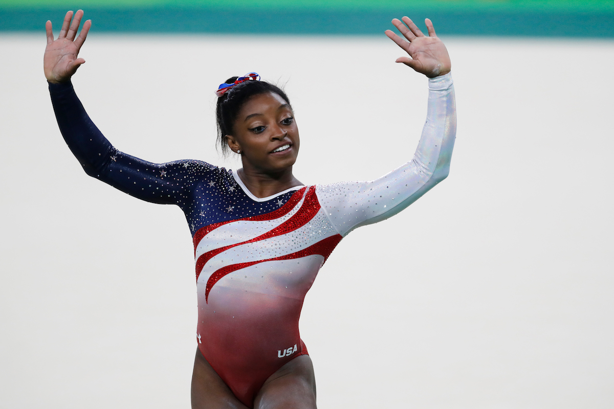Simone Biles performing floor exercise at the 2016 Rio Olympics