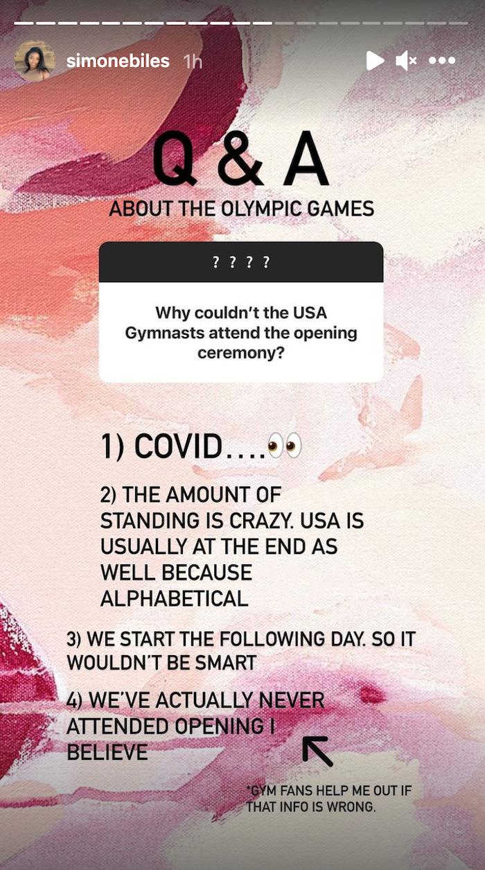 Simone Biles' Instagram Story response to a fan asking about the opening ceremony