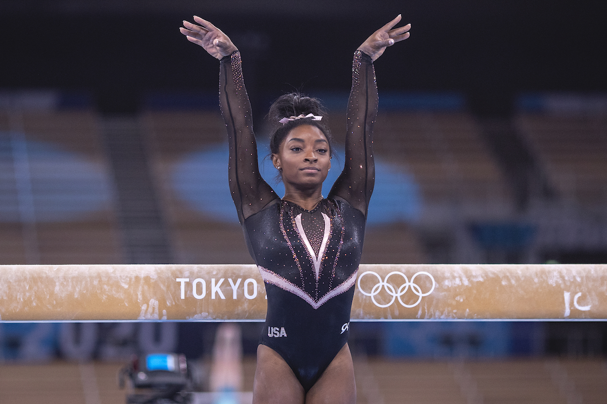 Simone Biles of the United States during the Artistic Gymnastics Podium Training at the Ariake Gymnastics Centre in preparation for the Tokyo 2020 Olympic Games on July 22, 2021 in Tokyo, Japan.