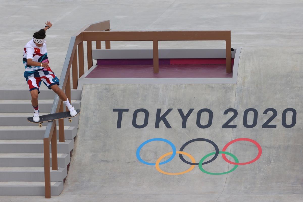 Mariah Duran skateboarding in Olympics