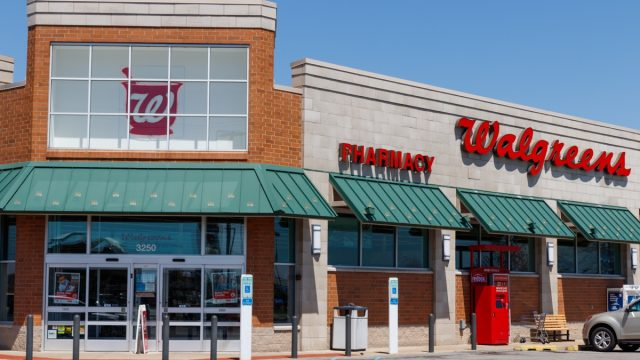 walgreens store exterior in suburban or rural location