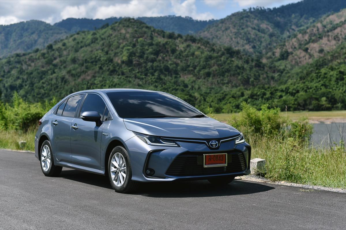 A blue Toyota Corolla