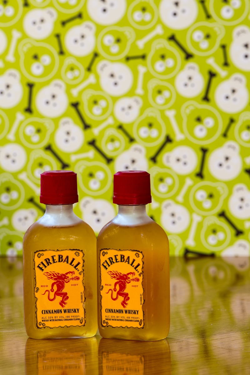 Two mini bottles of fireball