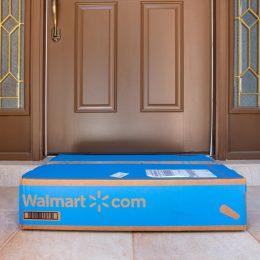 walmart box on doorstep
