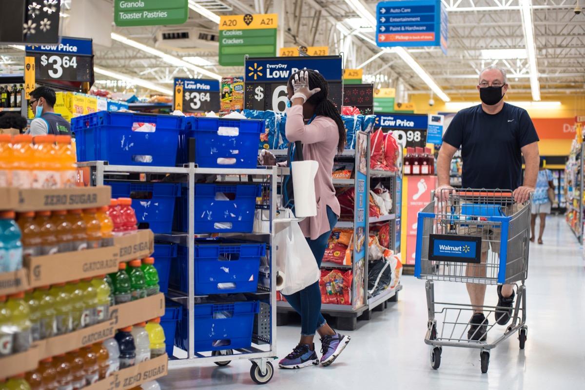 Walmart Customer Wearing Face Mask Shopping