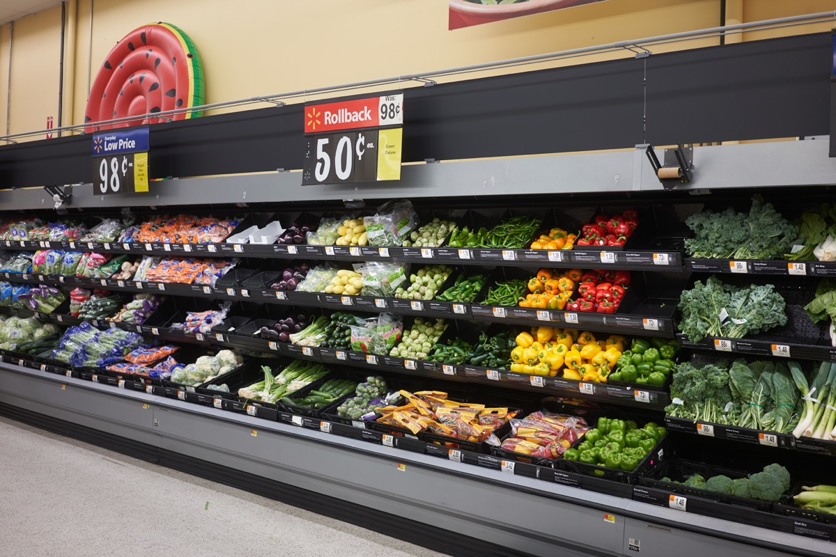West Linn, OR, USA - Aug 17, 2020: The Produce Department in a Walmart Neighborhood Market in West Linn, Oregon.