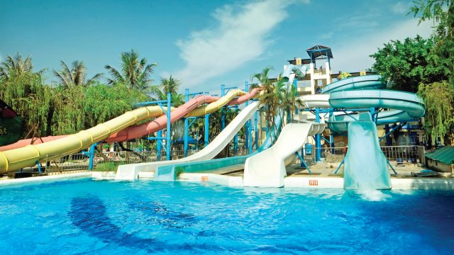 Water park sliders with pool