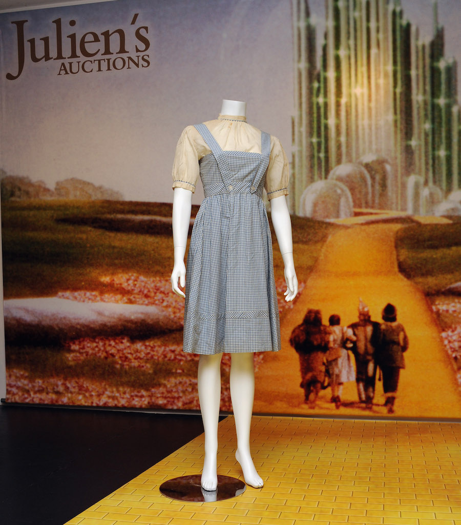"""A dress from """"The Wizard of Oz"""" at Julien's Auctions Gallery in 2012"""