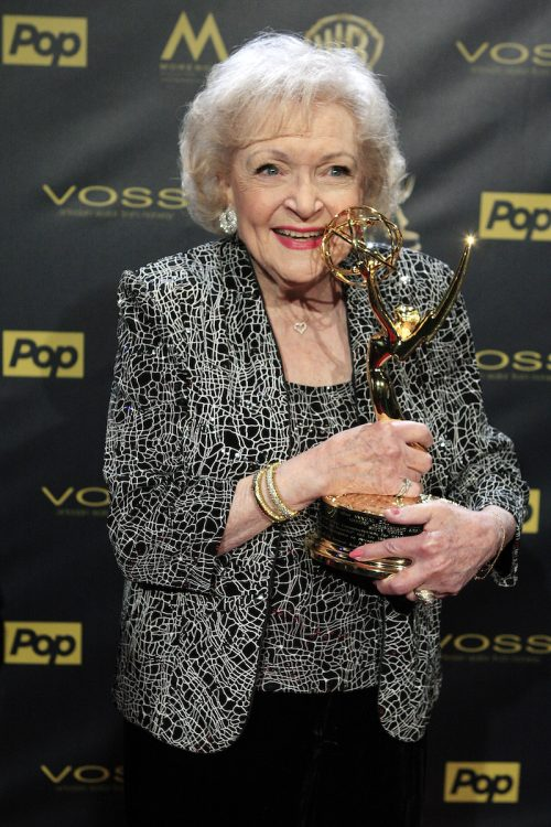 Betty White with her Lifetime Achievement Awards at the 2015 Daytime Emmy Awards Gala