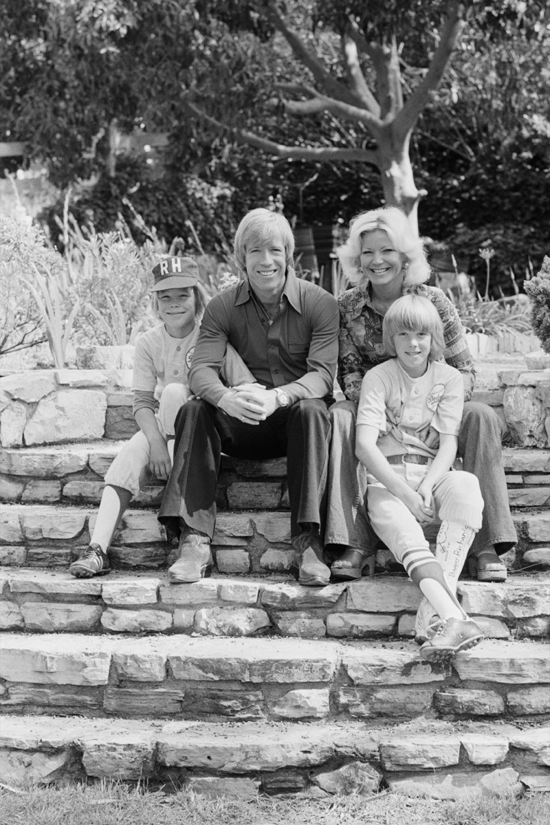 Chuck Norris, his wife Diane Norris and sons