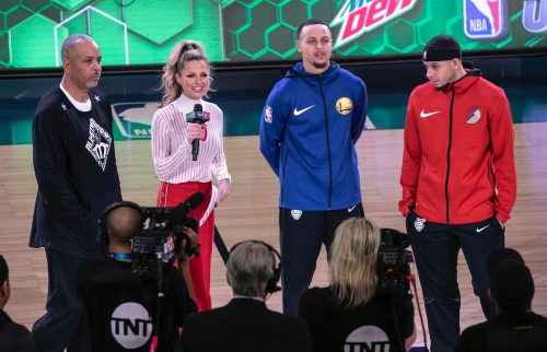 Dell Curry, Allie LaForce, Steph Curry, and Seth Curry at 2019 NBA All-Star Saturday Night