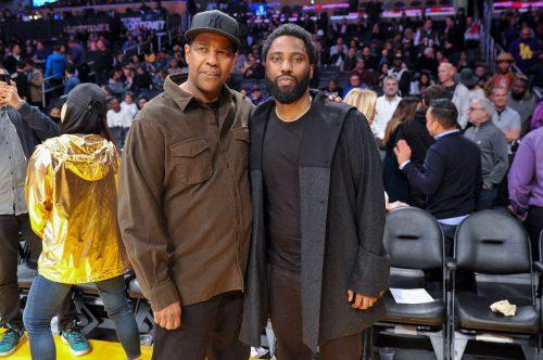 Denzel and John David Washington at a Los Angeles Lakers game in 2018