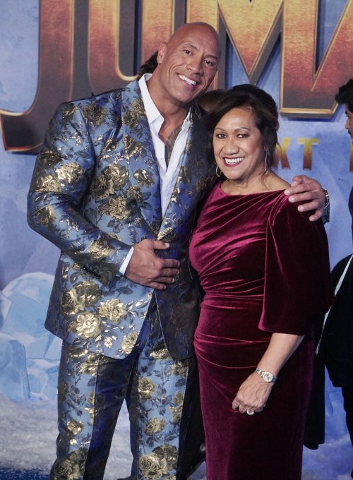 """Dwayne Johnson and his mother Ata Johnson at the premiere of """"Jumanji: The Next Level"""" in 2019"""