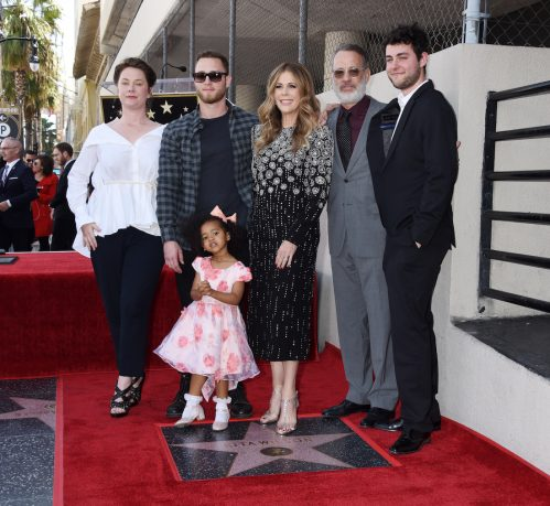 Elizabeth Hanks, Chet Hanks, Chet's daughter, Rita Wilson, Tom Hanks, and Truman Hanks at Wilson's Hollywood Walk of Fame ceremony in 2019