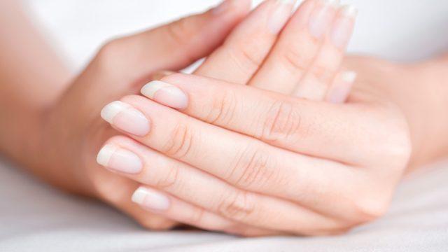 Woman's hands healthy fingernails