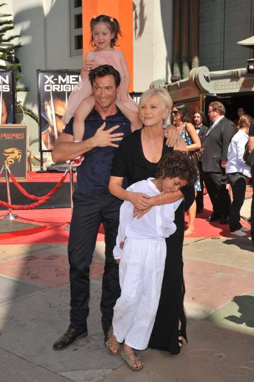 Hugh Jackman and Deborra-Lee Furness with children Oscar and Ava at Grauman's Chinese Theatre in 2009