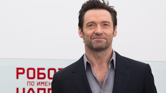 """Hugh Jackman at a photocall for """"Chappie"""" in Moscow in 2015"""