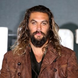 """Jason Momoa at a """"Justice League"""" photocall in London in 2017"""