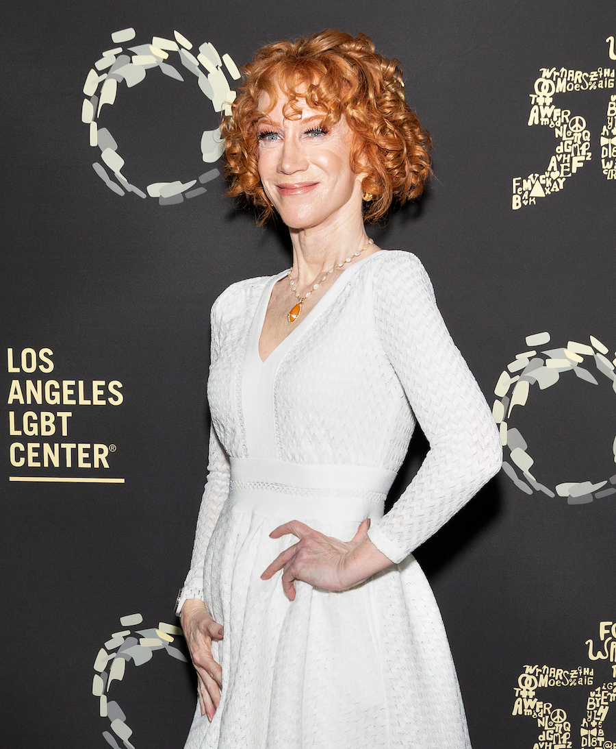 """Kathy Griffin at the Los Angeles LGBT Center's Gold Anniversary Vanguard Celebration """"Hearts Of Gold"""" in 2019"""