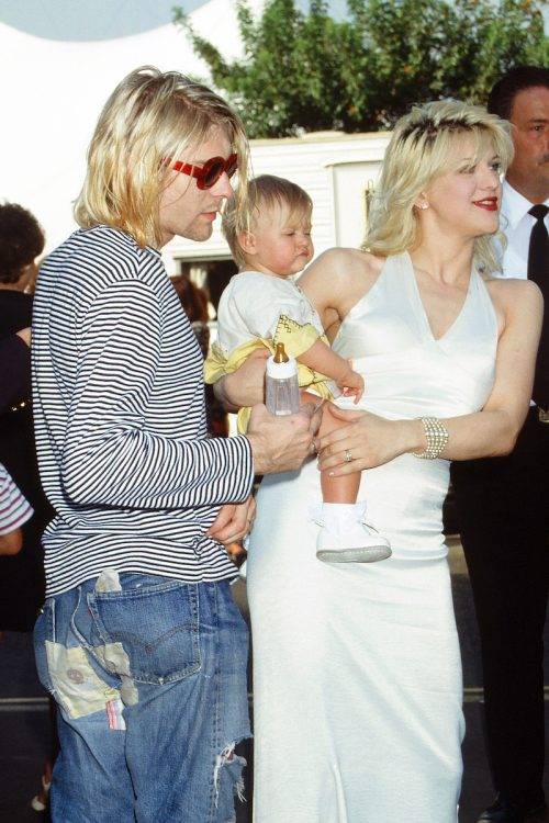 Kurt Cobain, Courtney Love, and their daughter Frances Bean Cobain at the MTV Video Music Awards in 1993