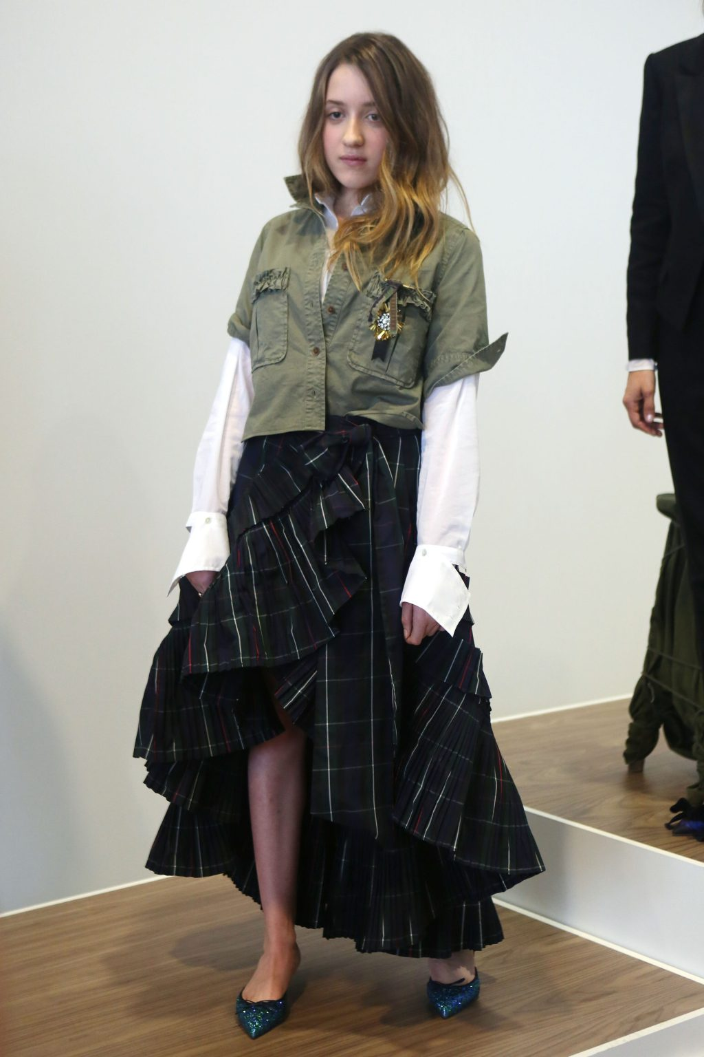 Mathilda Gianopoulos modeling at NYFW for J.Crew